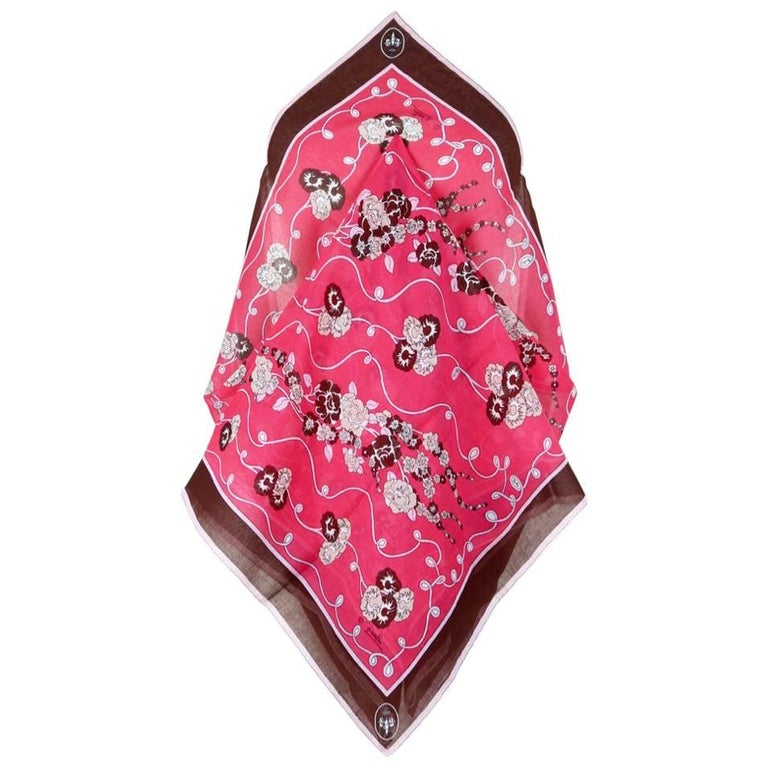 Emilio Pucci 1970s Rare Floral & Crest Print Pink Brown Light Wool Scarf