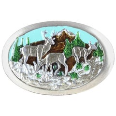 1970s Silver Metal Heavy Belt Buckle With Enamel Deer & Mountain Motif
