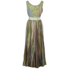 Umberto Ginocchietti 1990s Rainbow-Coloured Pleated Silk Top And Skirt Set Dress
