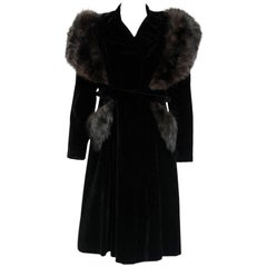 French Black Velvet and Genuine Fox Fur Belted Princess Coat Jacket, 1940s