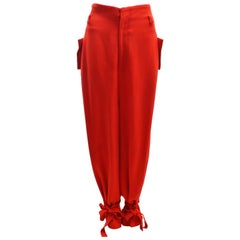 Y's by Yohji Yamamoto Red Drop Crotch Trousers with Tie Details
