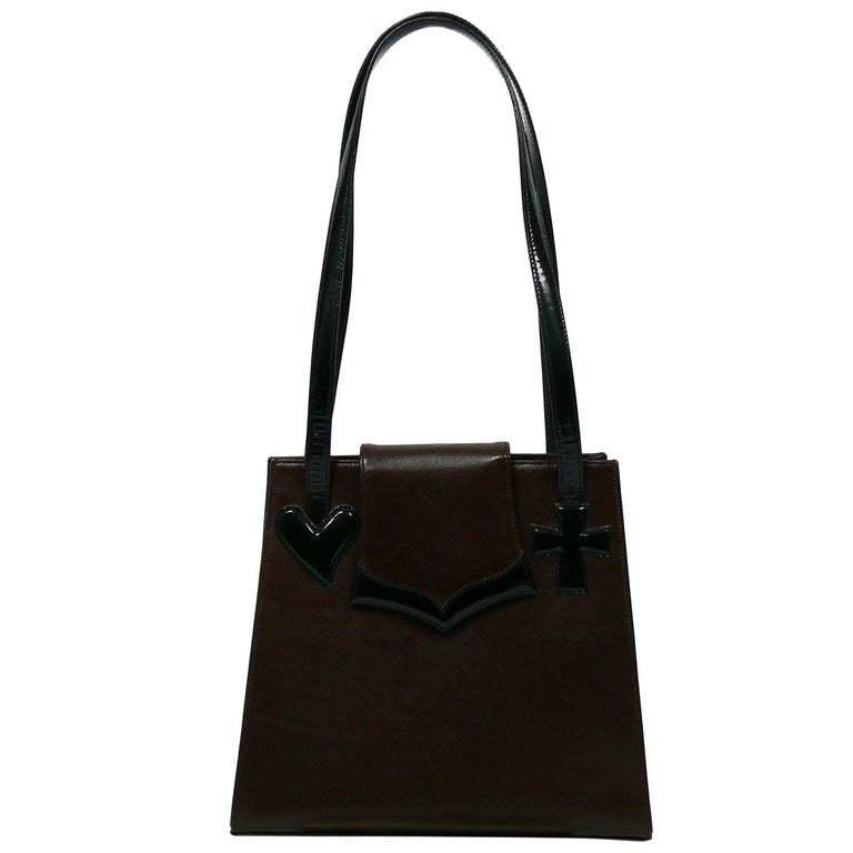 Christian Lacroix Vintage Brown Leather Bag with Black Patent