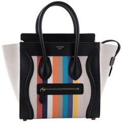 Celine Luggage Handbag Canvas and Leather Micro