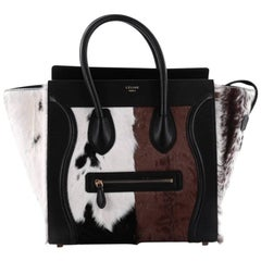 Celine Luggage Handbag Goat Fur Mini