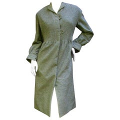 Galanos Luxurious Gray Flannel Coat Dress c 1970