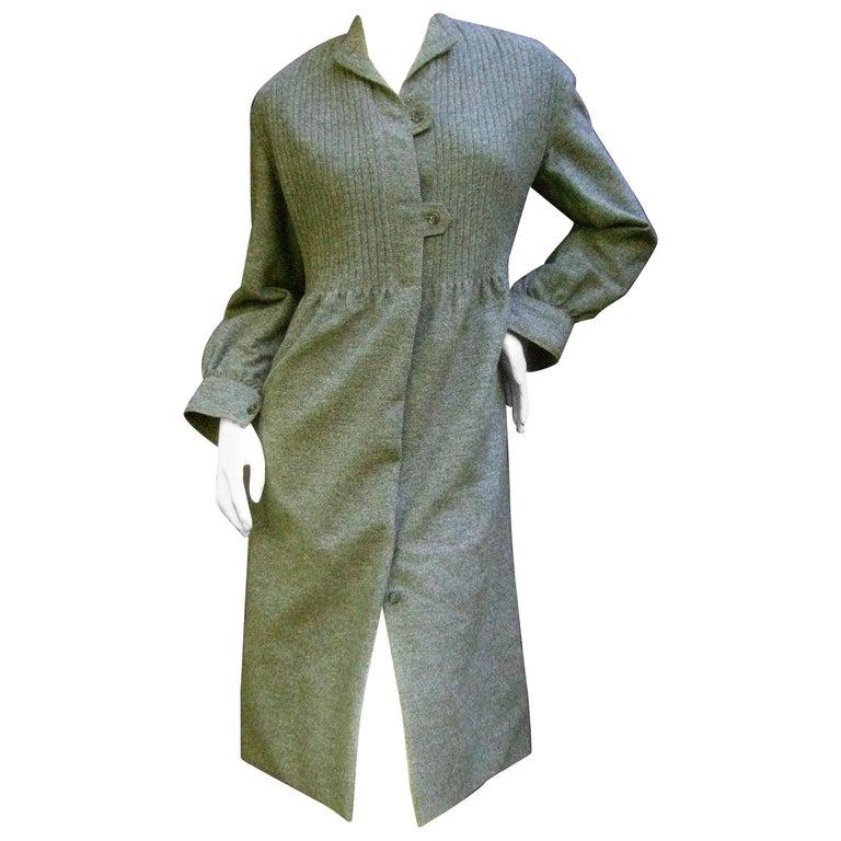 Galanos Luxurious Gray Flannel Coat Dress c 1970