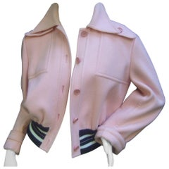 Valentino Boutique Blush Pink Wool Eisenhower Style Jacket c 1970