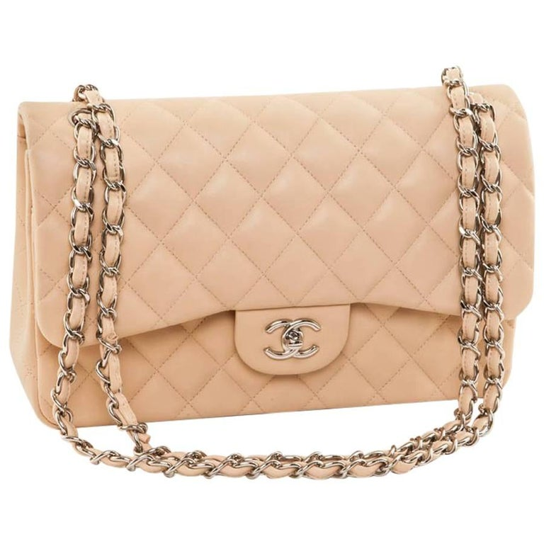6dca8ff49bd339 CHANEL Jumbo Double Flap Bag in Beige Quilted Lambskin Leather For Sale