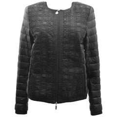 Moncler Black Down Quilted Jacket with Woven Front Panel Details