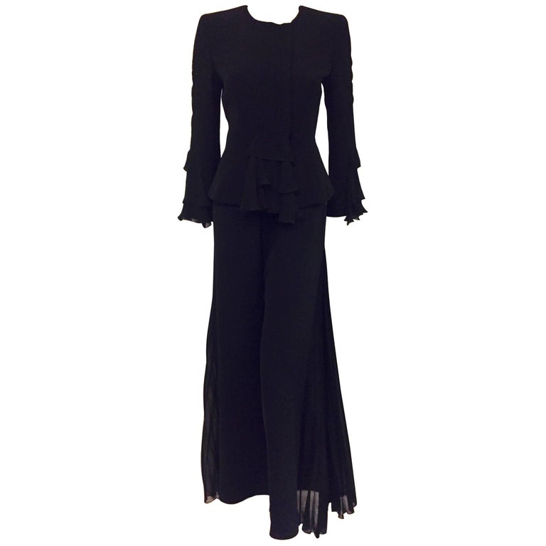 Glamorous Giorgio Armani Black Pleated Silk Pantsuit with Side Pleats on Pants
