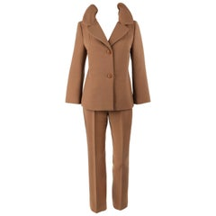 DOLCE & GABBANA c.1990's 2 Pc Tan Wool Two Button Jacket Cropped Pant Suit Set