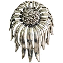 Vintage Modernist Tortoloni Signed Silver Sunflower Brooch