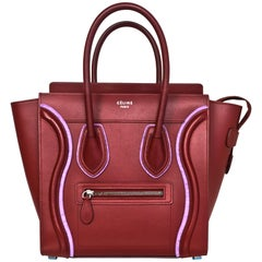 Celine 2016 Merlot & Purple Felt Micro Luggage Tote Bag rt. $3,400