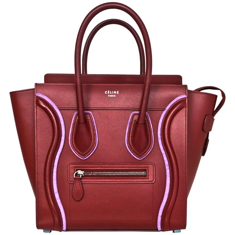 Celine 2016 Merlot & Purple Felt Micro Luggage Tote Bag rt. $3,400 For Sale