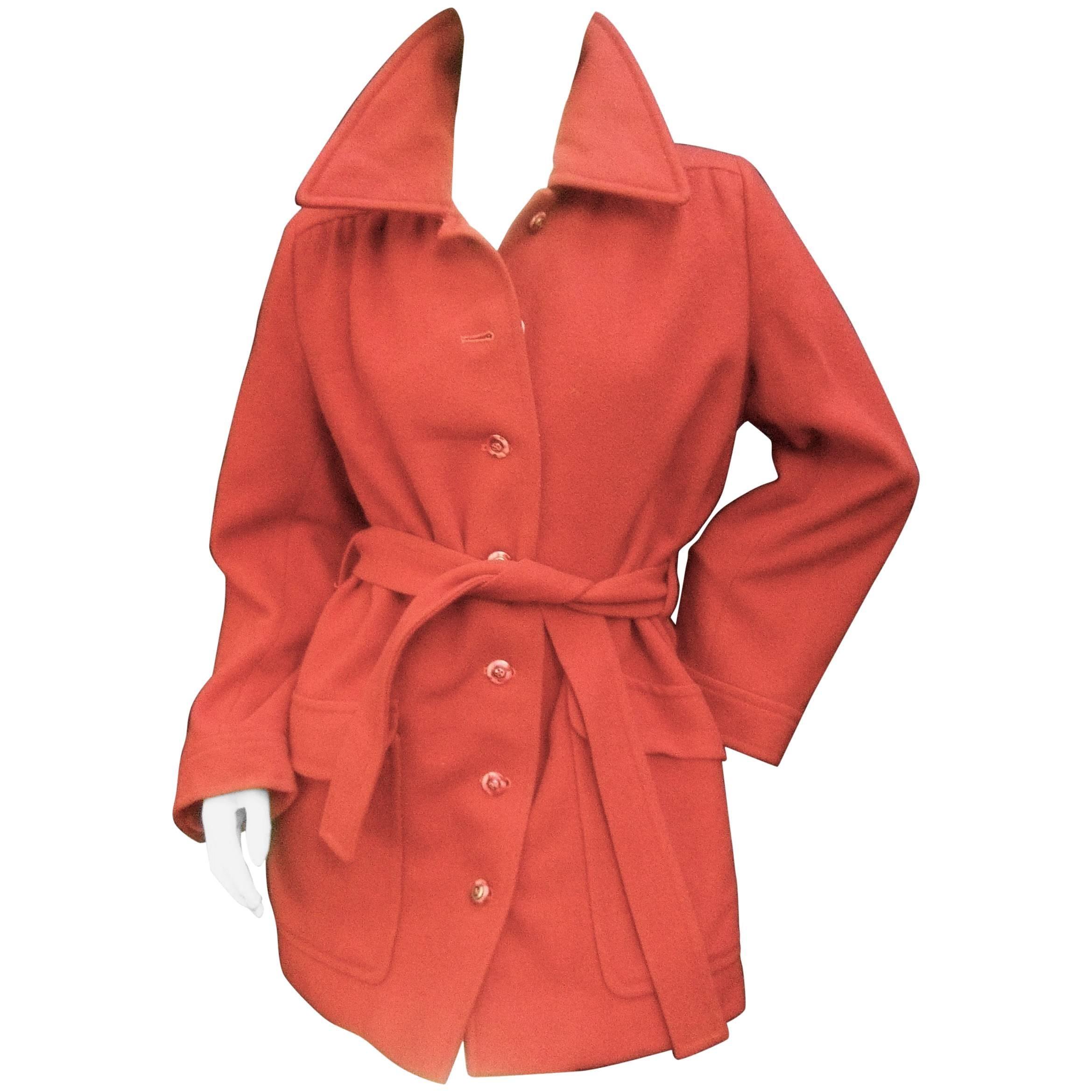 Saint Laurent Rive Gauche Paris Copper Wool 3/4 Length Belted Coat c 1970s