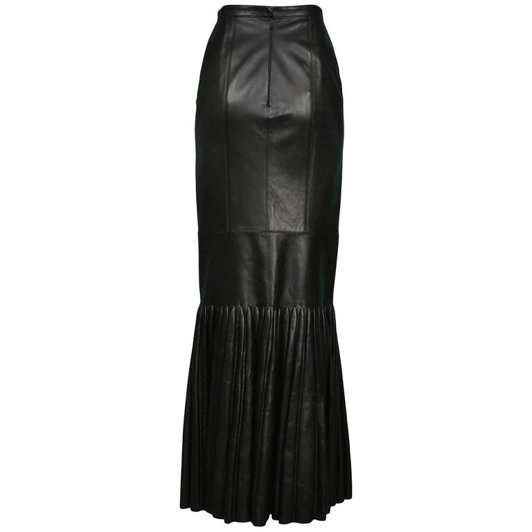 Unusual Azzedine Alaia Black Leather Mermaid Skirt with Pleated Hem