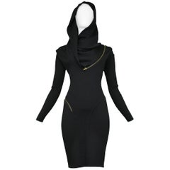 Iconic Azzedine Alaia Black Knit Zipper Dress 1986 - Museum Piece
