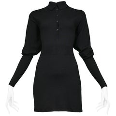 Vintage Azzedine Alaia Black Knit Blouson Sleeve Dress