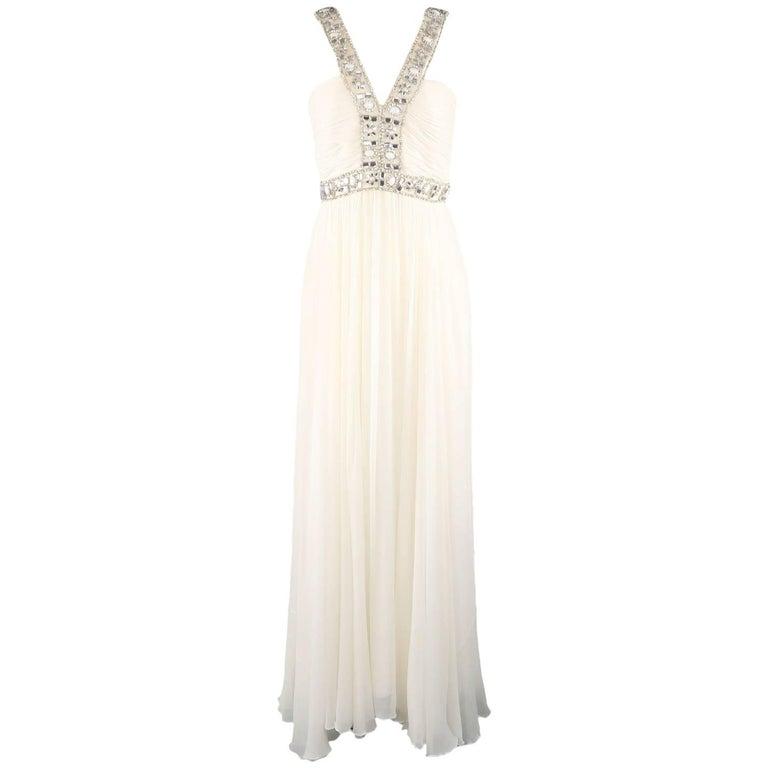 NAEEM KHAN Gown -  Size M Cream Silk Crepe Chiffon Rhinestone Beaded Strap