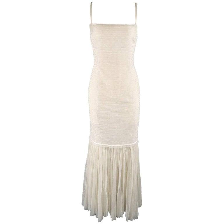 Ralph Lauren Collection Cream Beaded Drop Waist Tulle Gown