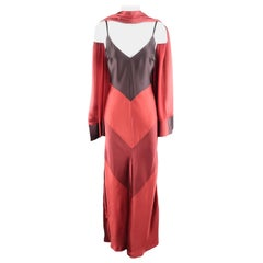 MAX MARA Size 6 Burgundy & Purple Color Block Satin Slip Maxi Dress