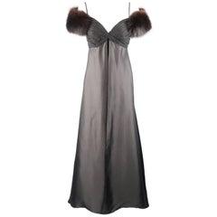 MICHAEL CASEY Size 8 Black Silk & Velvet Gathered Bust Fox Fur Shoulder Gown