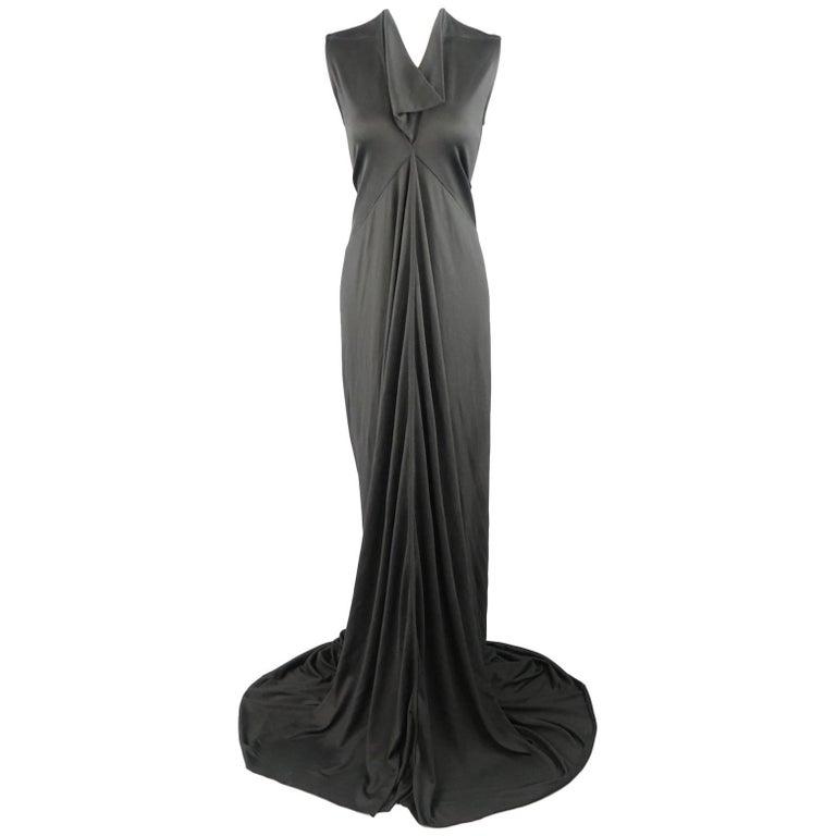 RICK OWENS Dress Maxi - Size 8 Black Silk Ruched Mermaid Train For Sale