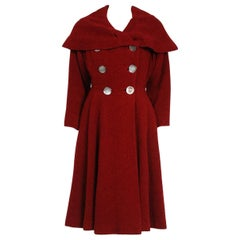 1940's Burgundy Red Chenille-Wool Double Breasted Shawl Collar Princess Coat