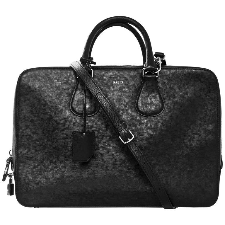 Bally Black Textured Leather Satchel Briefcase Bag W