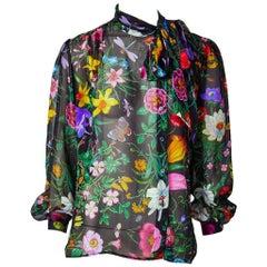 Gucci Floral Pattern Chiffon Bouse C. Late 70's