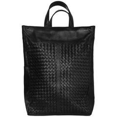 Bottega Veneta Black Intrecciato Woven Leather Tote Bag