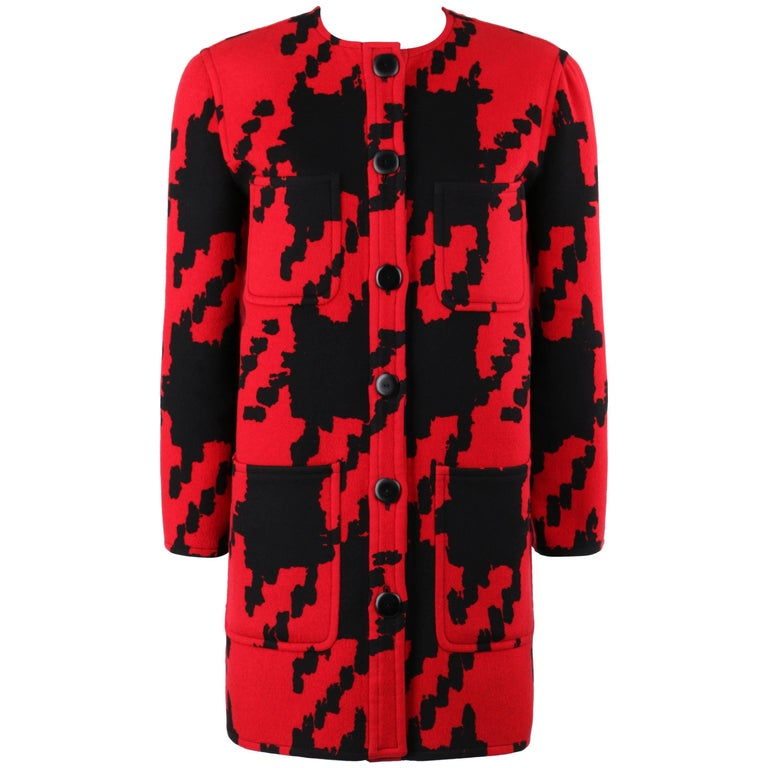VALENTINO Boutique c.1980s Red & Black Oversized Houndstooth Wool Car Coat