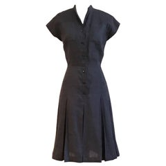 Sorelle Fontana Early Vintage Navy Blue Button Front Shirt Dress with Pockets