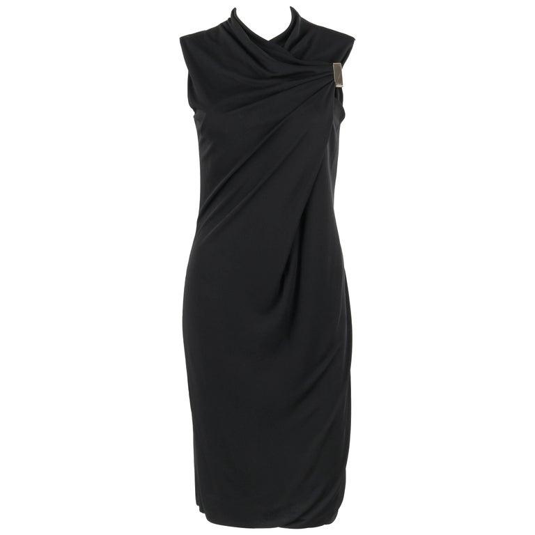 GUCCI Black Jersey Knit Sleeveless Draped Shift Cocktail Dress