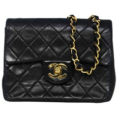 Chanel Vintage Black Quilted Lambskin Square Mini Flap Bag with DB