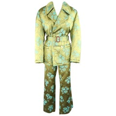 JEAN PAUL GAULTIER Size 10 Green Abstract Chinoiserie Satin Trench & Pant Outfit