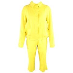 GIANFRANCO FERRE JEANS Size 8 Yellow Linen Blend Capri Pant Suit