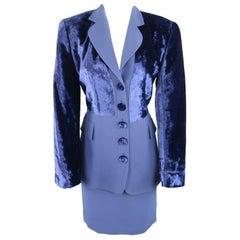 GIANFRANCO FERRE Size 8 Blue Velvet Panel Skirt Suit