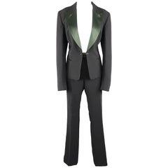 GIANFRANCO FERRE Size 10 Black & Green Peak Lapel Tuxedo Pants Suit