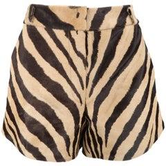 EMILIO PUCCI Size 6 Tan Tiger Print Pony Hair High Rise Shorts
