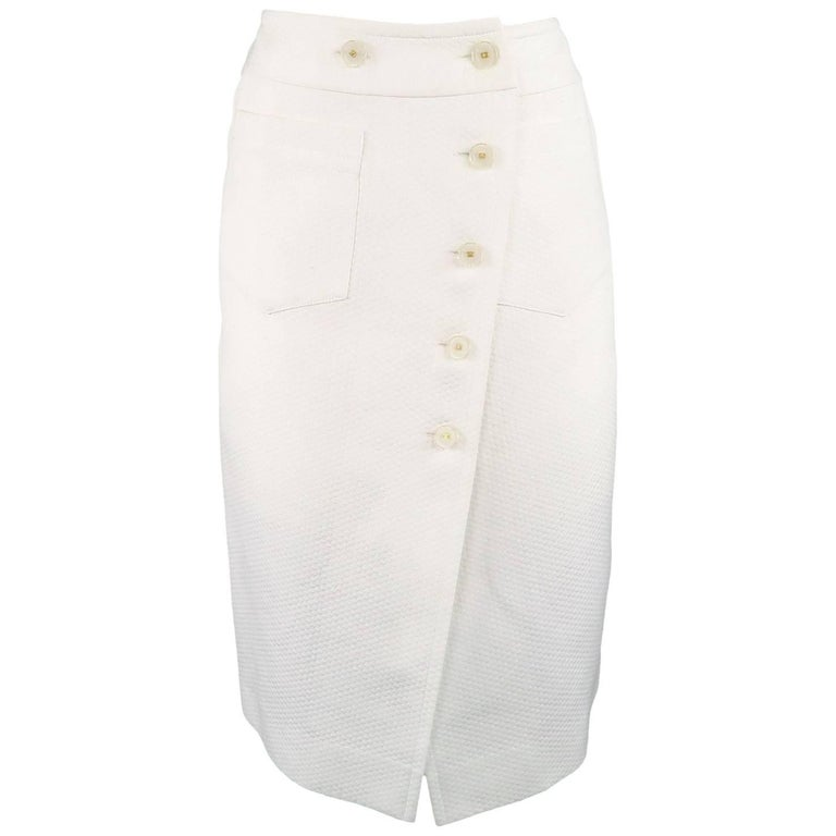 28161fd6e516 ... Light Brown Box Pleat Hem No5 Buttons 36 / 4. HomeFashionClothingSkirts.  CHANEL Skirt - Size 2 White Cream Textured Cotton Button A-line Skirt For  Sale
