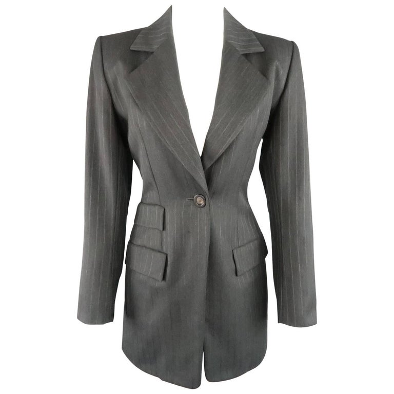 YVES SAINT LAURENT Rive Gauche Size 6 Grey Pinstripe Wool Coat