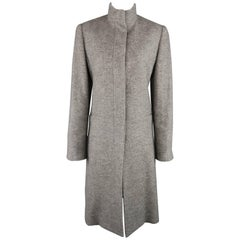 RALPH LAUREN Size 8 Grey Herringbone Wool Blend High Collar Coat