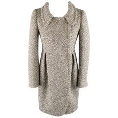 MIU MIU Size 2 Heather Grey Virgin Wool Tweed Pleated Coat