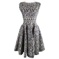 ALAIA Size S Gray Leopard Print Knit Fit Flair Ruffle Skirt Dress