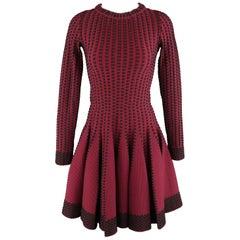 ALAIA Size 10 Burgundy & Black Stretch Wool Fiut FLair Long Sleeve Dress
