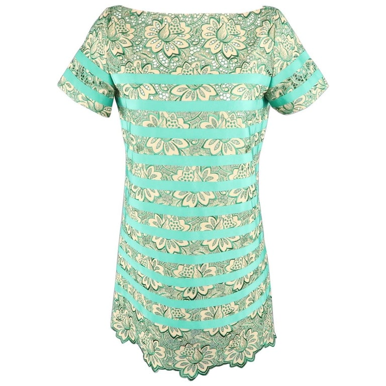 SACAI Luck Size 2 Green Ribbon Striped Lace Shift Dress For Sale