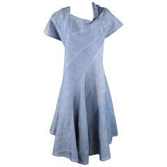 JUNYA WATANABE Size S Blue Cotton / Linen Asymmetrical Patchwork Flair Dress