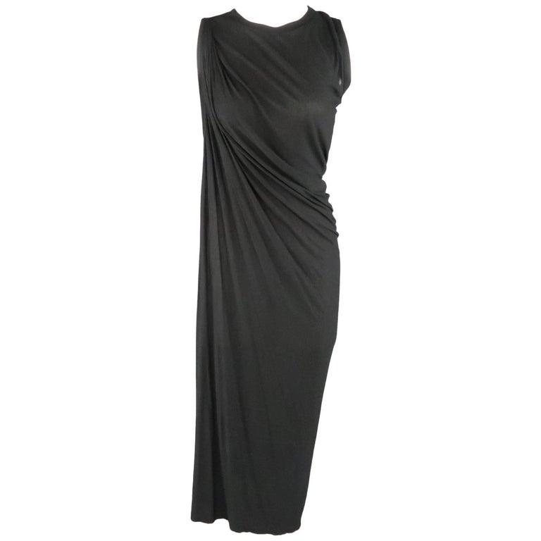 RICK OWENS Size 10 Black Sheer Jersey Asymmetrical Drape T-Shirt Dress