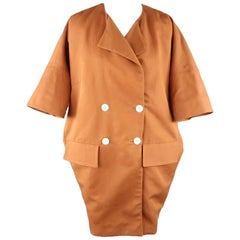 MARNI Size 4 Rust Double Breasted Cacoon Coat